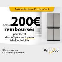 Offre de Remboursement Whirlpool : Jusqu'à 200€ Remboursés sur Réfrigérateur