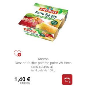 Dessert Fruitier Sans Sucres Ajoutés Andros partout (26/08 – 18/09)