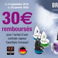 Offre de Remboursement Braun : 30€ Remboursés sur Centrale Vapeur CareStyle Compact