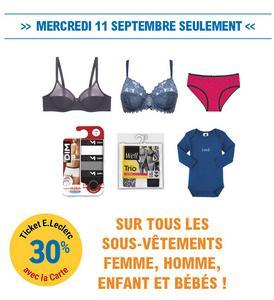 acheter en ligne 736a2 cdc23 Leclerc : 30% en Ticket Leclerc sur tous les Sous-Vêtements ...