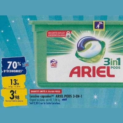 Lessive en Capsules Ariel chez Carrefour (23/09 – 30/09)