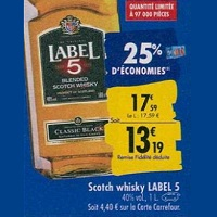 Scotch Whisky Classic Black Label 5 Chez Carrefour (23/09 – 30/09)
