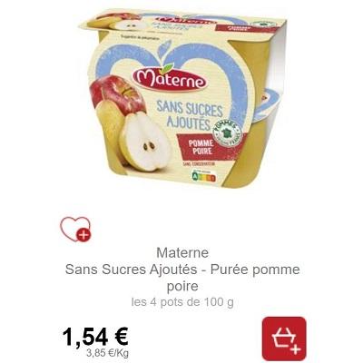 Coupelles Pomme Poire Sans Sucres Ajoutés Materne chez Intermarché (07/09 -30/09)