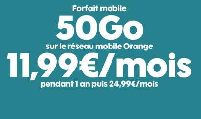 11.99€ par mois le Forfait SOSH ILLIMITE 50Go (au lieu de 24.99€)
