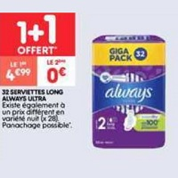 Serviettes Ultra Always chez Leader Price (17/09 – 29/09)