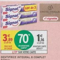Dentifrice Total Integral 8 Signal chez Intermarché (15/10 – 20/10)