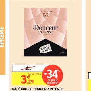 Café Moulu Douceur Intense Carte Noire chez Intermarché (22/10 – 03/11)