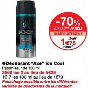 Déodorant Axe chez Monoprix (09/10 – 20/10)
