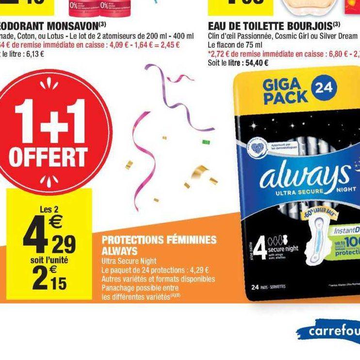 Serviettes Night Always chez Carrefour Market (05/11 – 17/11)