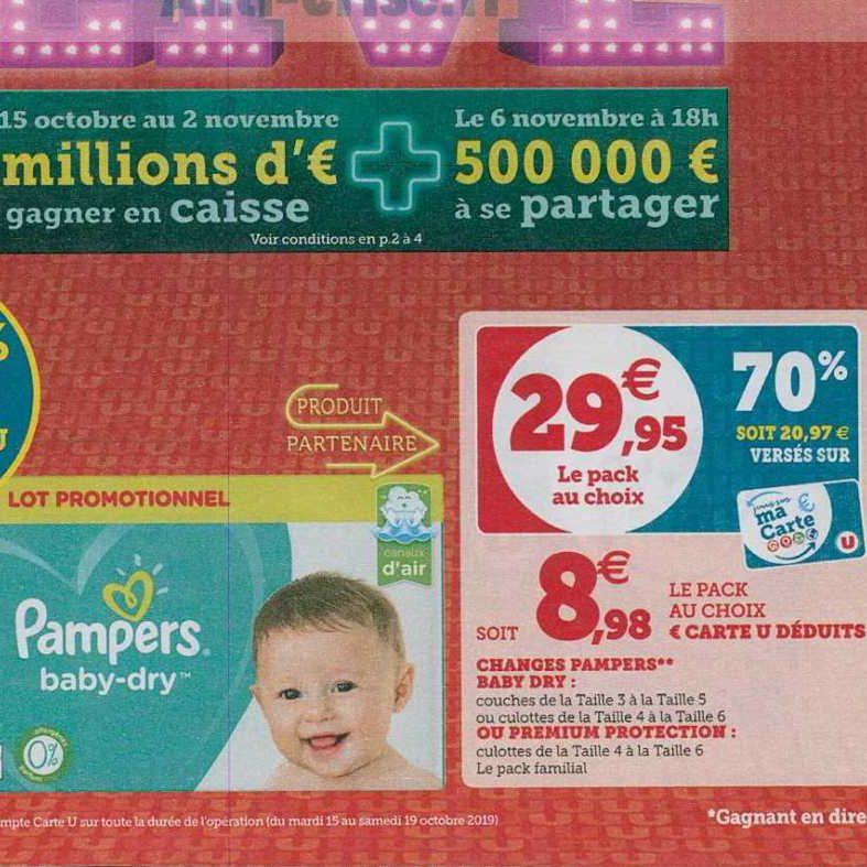 Couches Ou Culottes Pampers Chez Magasins U 15 10 19 10 Catalogues Promos Bons Plans Economisez Anti Crise Fr