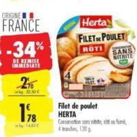 Filet de Poulet Herta chez Carrefour (15/10 – 21/10)