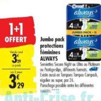 Serviettes Ultra Always chez Carrefour (15/10 – 28/10)