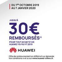 Offre de Remboursement Huawei : 30€ Remboursés sur Smartphone Y5 2019 – Y6 2019 – Y7 2019