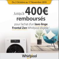 Offre de Remboursement Whirlpool : Jusqu'à 400€ Remboursés sur Lave-linge Zen