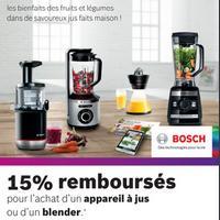 Offre de Remboursement Bosch : 15% Remboursés sur Appareil à Jus ou Blender