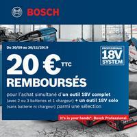 Offre de Remboursement Bosch : 20€ Remboursés sur Outil sans fil 18V