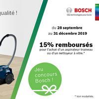 Offre de Remboursement Bosch : 15% Remboursés sur Aspirateur Traineau, Nettoyeur à Vitre ou Aspirateur de Table