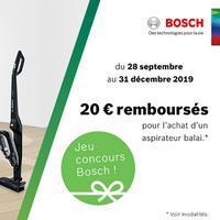 Offre de Remboursement Bosch : 20€ Remboursés sur Aspirateur Balai