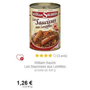 Saucisses aux Lentilles William Saurin partout (25/10 – 25/11)