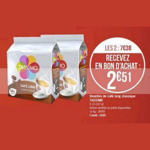 Capsules de Café Tassimo chez Géant Casino (04/11 – 17/11)