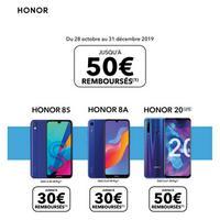 Offre de Remboursement Honor : Jusqu'à 50€ Remboursés sur Smartphone 8S, 8A ou 20 lite