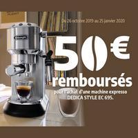 Offre de Remboursement DéLonghi : 50€ sur Machine Expresso DEDICA