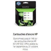 Offre de Remboursement Hp : Jusqu'à 15€ Remboursés sur Cartouches d'Encre 301 et/ou 302