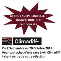 Offre de Remboursement Climadiff : Jusqu'à 100€ Remboursés sur Cave à Vin