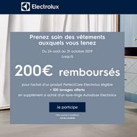 Offre de Remboursement Electrolux : 200€ Remboursés sur Lave-Linge ou Sèche-Linge PerfectCare