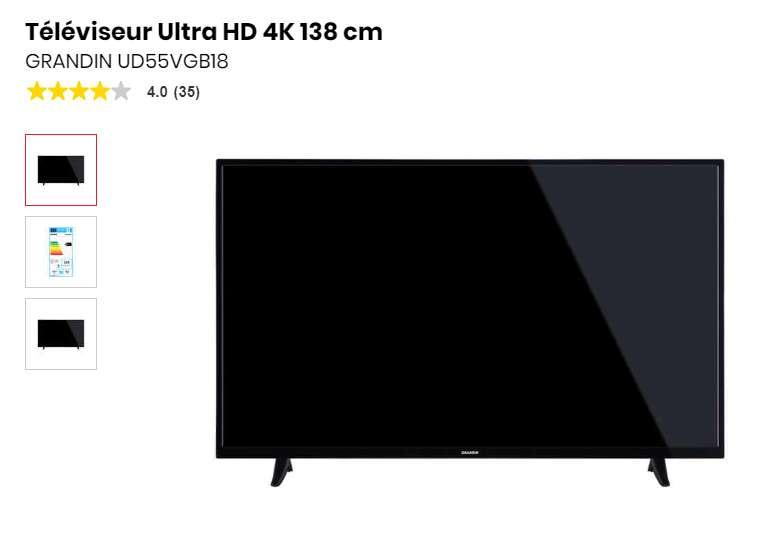 Moins de 300€ le Téléviseur Ultra HD 4K 138 cm Grandin