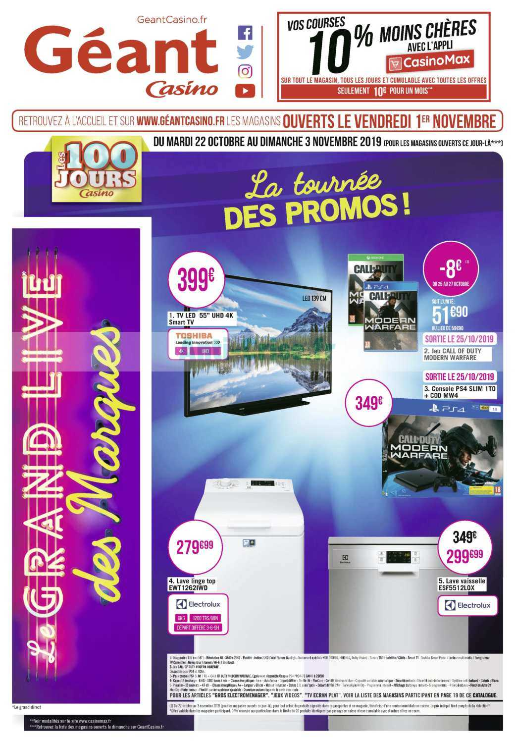 Catalogue Géant Casino du 22 octobre au 03 novembre 2019