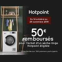 Offre de Remboursement Hotpoint : 50€ Remboursés sur 1 Sèche-Linge