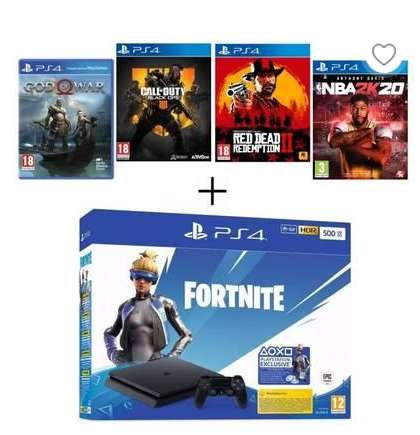 299€ la console Sony Ps4 + 4 jeux + voucher Fortnite