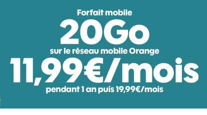 11,99€ par mois le Forfait mobile Sosh 20go au lieu de 19.99