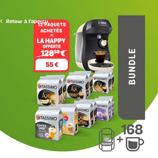 55€ la machine TASSIMO + 12 paquets de capsules