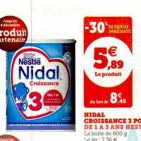 Lait de Croissance Nidal 3 Nestlé Bébé chez Magasins U (03/12 – 14/12)