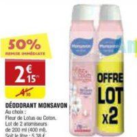 Déodorant Monsavon chez Atac (20/11 – 25/11)