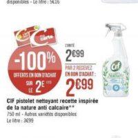 Pistolet Nettoyant Cif Recette Inspirée de la Nature chez Géant Casino (25/11 – 08/12)