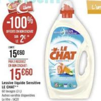 Lessive Liquide Le Chat chez Casino (11/11 – 24/11)