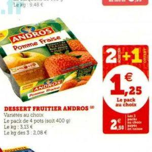 Dessert Fruitier Andros chez Magasins U (19/11 – 30/11)