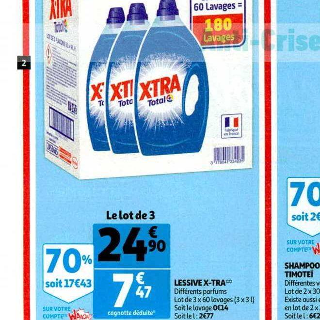 Lessive Liquide X Tra Chez Auchan 13 11 19 11 Catalogues Promos Bons Plans Economisez Anti Crise Fr