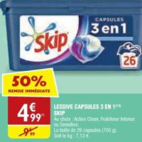 Lessive en Capsules Skip chez Atac (20/11 – 25/11)