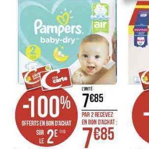Couches Baby-dry Pampers chez Géant Casino (25/11 – 08/12)