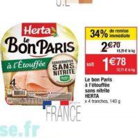 Jambon sans nitrite Herta chez Cora (19/11 – 25/11)