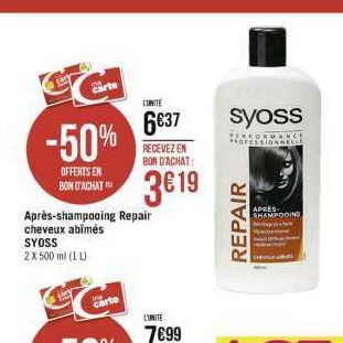 Après-Shampoing Syoss chez Casino (18/11 – 01/12)