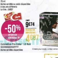 Coloration Pro Color Schwarzkopf chez Géant Casino (02/12 – 15/12)