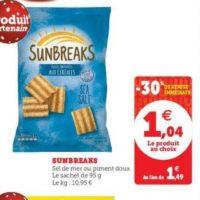 Biscuits Apéritif Sunbreaks chez Hyper U (19/11 – 30/11)