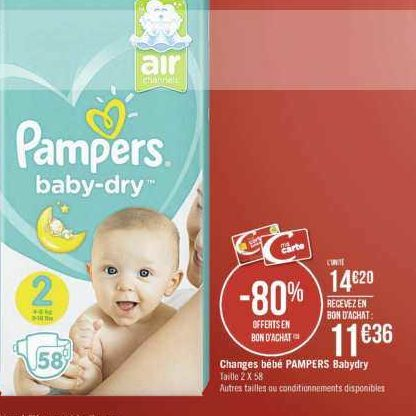Couches Baby-Dry Pampers chez Casino (18/11 – 01/12)