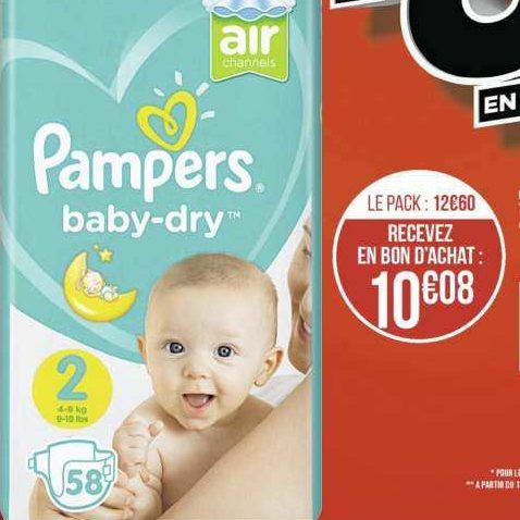 Couches Baby-Dry Pampers chez Géant Casino (18/11 – 01/12)