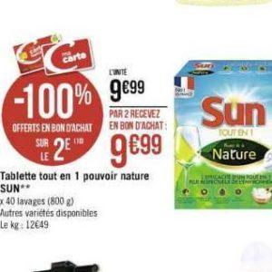 Tablettes Sun Pouvoir de la Nature chez Casino (25/11 – 08/12)